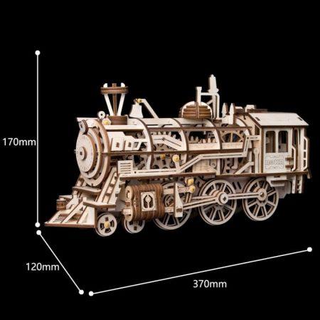 rokr lk701 Locomotora a vapor Locomotive Disfruta con el montaje de esta locomotora de madera cortada por laser de 349 piezas, con movimiento a cuerda.