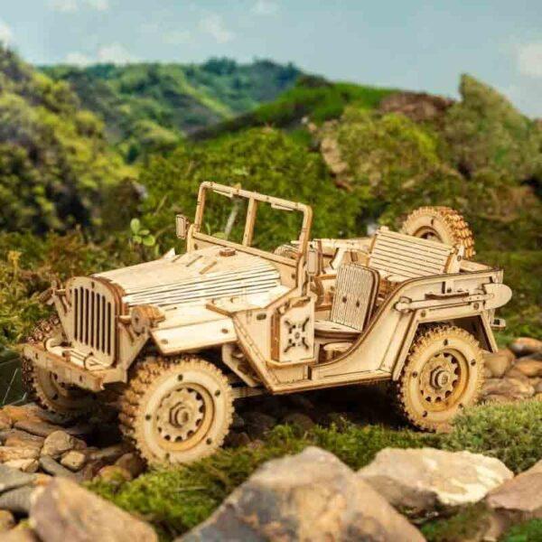 rokr mc701 Army field car Jeep Maqueta en madera de 369 piezas con un increíble nivel de detalle.