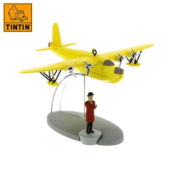 tintin 29525 Yellow seaplane -Tintin en Las 7 Bolas de Cristal Tintin in the planes Avión de colección en metal y plástico, incluye figura de personaje.