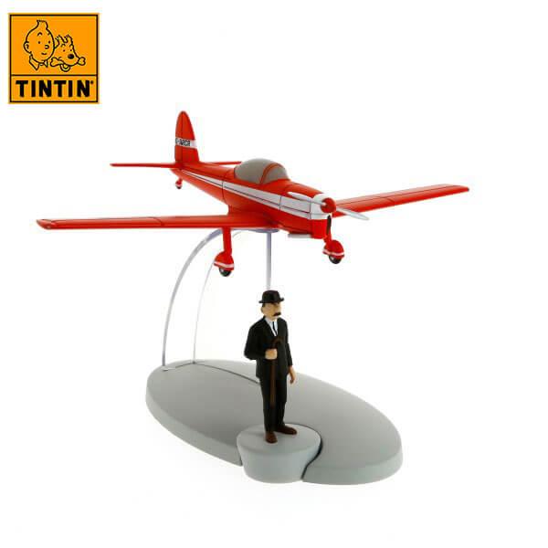 tintin 29528 Red plane -Tintin en La isla negra Tintin in the planes Avión de colección en metal y plástico, incluye figura de personaje.
