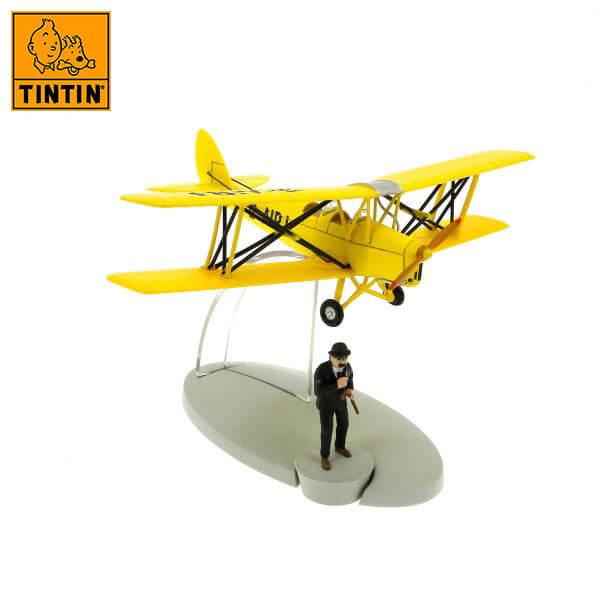 tintin 29531 Yellow biplane -Tintin en La isla negra Tintin in the planes Avión de colección en metal y plástico, incluye figura de personaje.