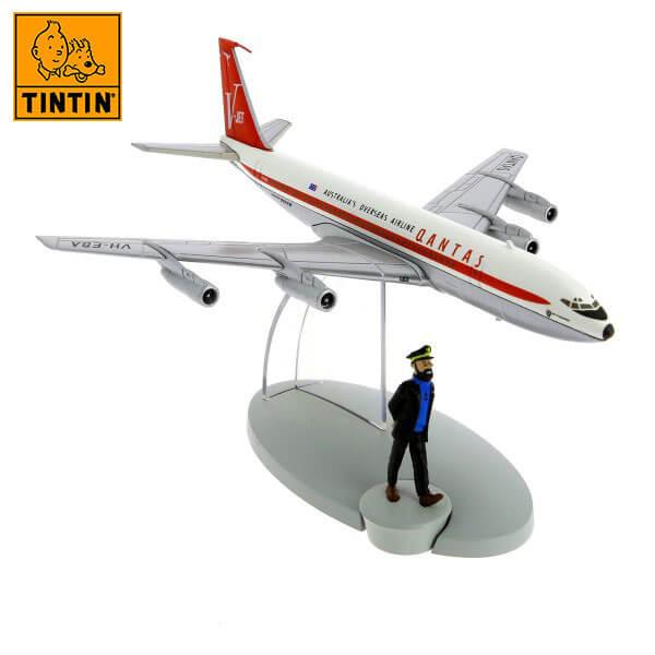 tintin 29535 Qantas Airlines Boeing 707 -Tintin en Vuelo 714 Tintin in the planes Avión de colección en metal y plástico, incluye figura de personaje.