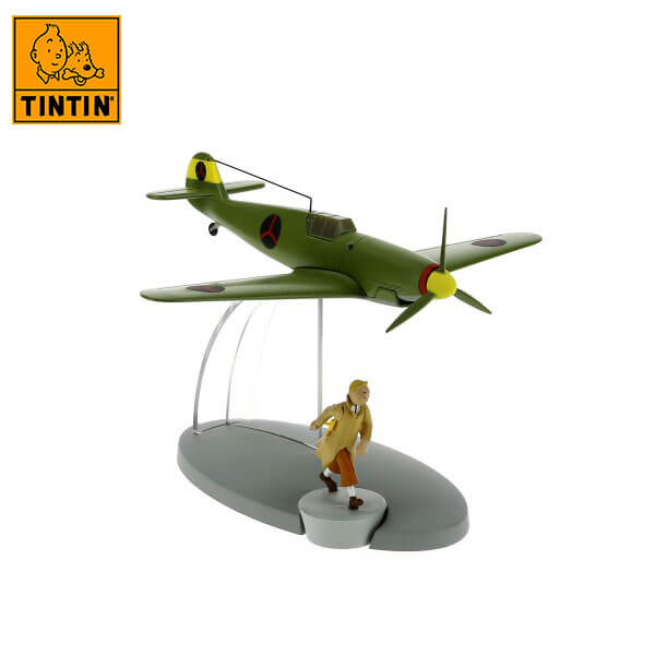 tintin 29536 Bordurian Messerschmitt Bf-109 -Tintin en El Cetro de Ottokar Tintin in the planes Avión de colección en metal y plástico, incluye figura de personaje.