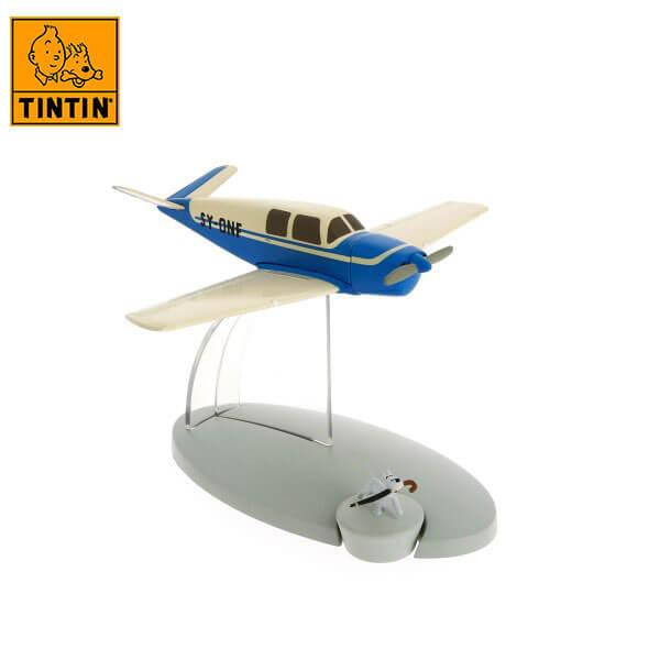 tintin 29539 The kidnapper's blue plane -Tintin en El asunto Tornasol Tintin in the planes Avión de colección en metal y plástico, incluye figura de personaje.