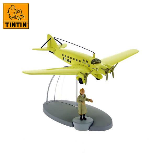 tintin 29554 Sabena aeroplane -Tintin en La isla negra Tintin in the planes Avión de colección en metal y plástico, incluye figura de personaje.