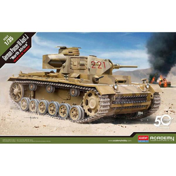 academy 13531 German Panzer III Ausf. J North Afrika 1/35 Kit en plástico para montar y pintar. Incluye piezas en fotograbado. Cadenas por tramo y eslabón