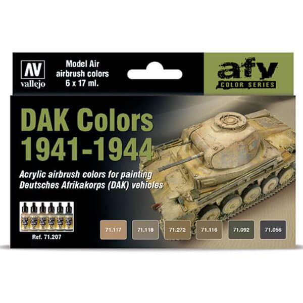 AV71207 DAK Colors 1941-1944 Set de 6 colores Model Air de 17 ml para aerografía. El set incluye todos los tonos necesarios para pintar carros de combate y vehículos encuadrados dentro de las unidades del DAK durante el periodo de 1941 a 1944