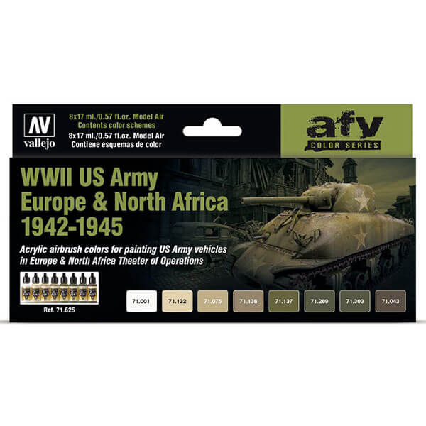 AV71625 WWII US Army Europe & North Africa 1942-1945 En el set se incluyen todos los tonos usados como colores base, así como los utilizados para realizar los distintos esquemas de camuflaje comúnmente utilizados en Europa (ETO), esquemas invernales y los esquemas utilizados por los vehículos operativos en el Norte de África.