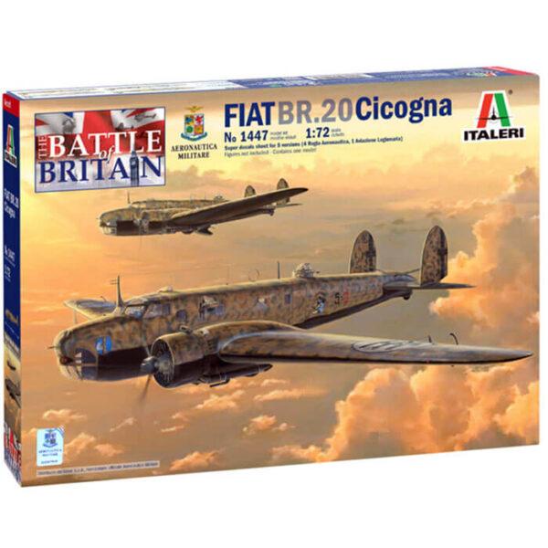 italeri 1447 FIAT BR.20 Cicogna 1/72 Kit en plástico para montar y pintar. Hoja de calcas con 5 decoraciones