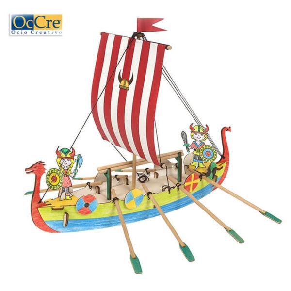 occre 20001 Occre Junior Viking Monta y colorea el barco VIKING. Kit en madera de fácil montaje, ideal para iniciarse en el apasionante mundo del modelismo.