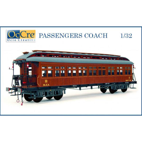 occre 56003 PASSENGERS COACH 1/32 Vagón de pasajeros época I con un completo interior detallado y balconcillos. Kit en metal y madera