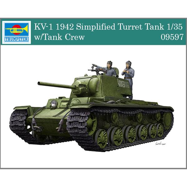 trumpeter 09597 KV-1 Mod.1942 Simplified Turret w/Tank Crew 1/35 Kit en plástico para montar y pintar. Incluye piezas en fotograbado y tripulación.