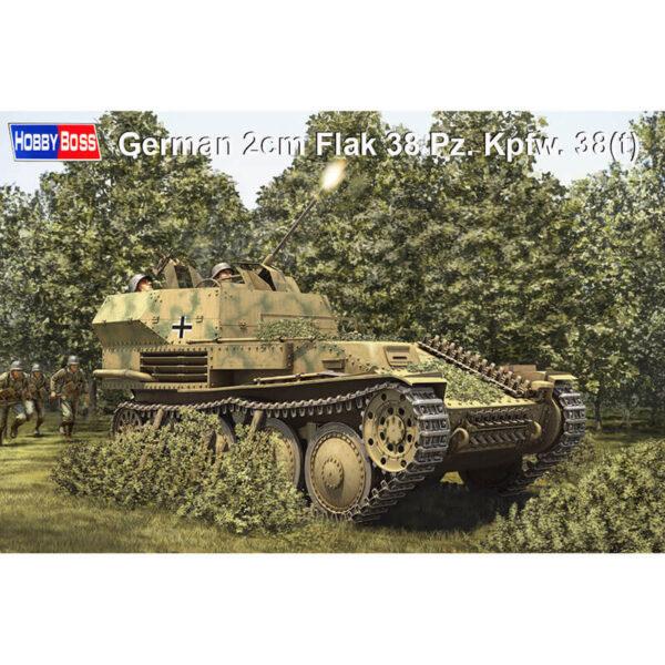 Hobby boss 80140 German 2cm Flak 38 Pz.Kpfw. 38(t) 1/35 Kit en plástico para montar y pintar. Incluye piezas en fotograbado y cadenas por eslabones individuales.