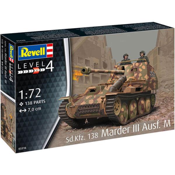 Revell 03316 Sd.Kfz.138 Marder III Ausf.M 1/72 Kit en plástico para montar y pintar. Hoja de calcas con 2 decoraciones.