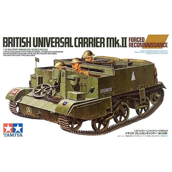 Tamiya 35249 British Universal Carrier Mk.II 1/35 Forced Reconnaissance Kit en plástico para montar y pintar.