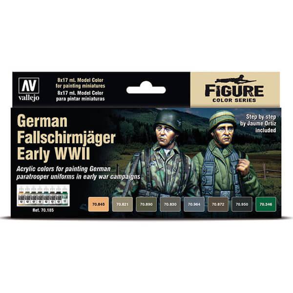 acrylicos vallejo 70185 German Fallschirmjäger Early WWII Set de 8 pinturas acrílicas de la gama Model Color para reproducir los camuflajes de los blusones de los Fallschirmjäger.