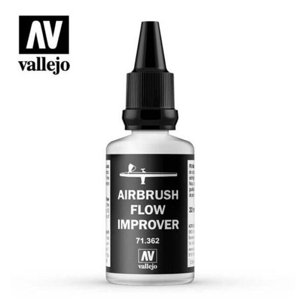 Acrylicos Vallejo Airbrush Flow Improver 32ml Médium formulado para mejorar la fluidez de la pintura y retrasar su secado en el aerógrafo.