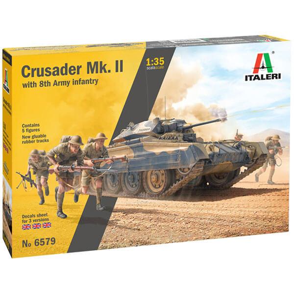 italeri 6579 Crusader Mk. II 1/35 with 8th Army Infantry kit en plástico parta montar y pintar.