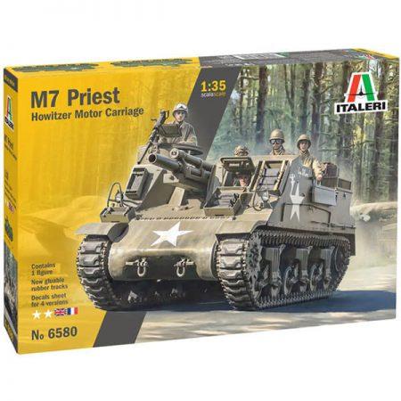 italeri 6580 M7 Priest 1/35 Howitzer Motor Carriage kit en plástico parta montar y pintar. Hoja de calcas con 4 decoraciones