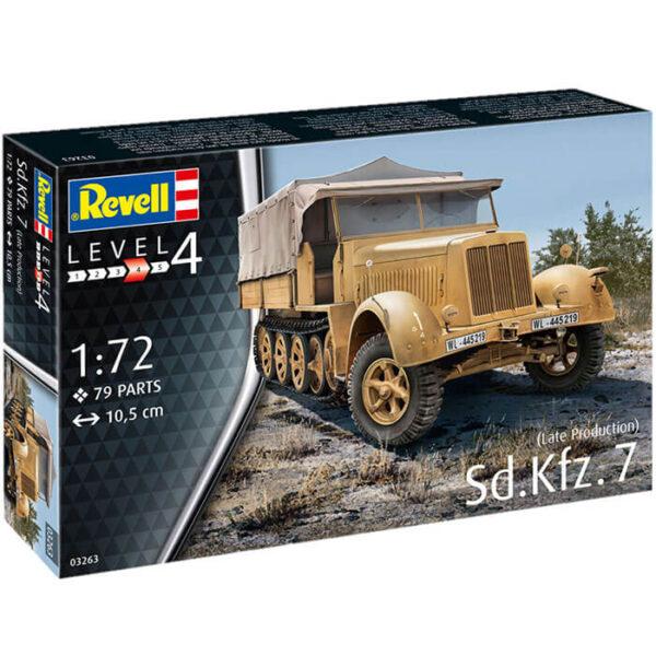 revell 03263 Sd.Kfz.7 Late Production 1/72 Kit en plástico para montar y pintar. Hoja de calcas con 2 decoraciones.