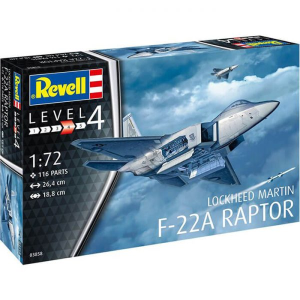 revell 03858 Lockheed Martin F-22A Raptor 1/72 Kit en plástico para montar y pintar.