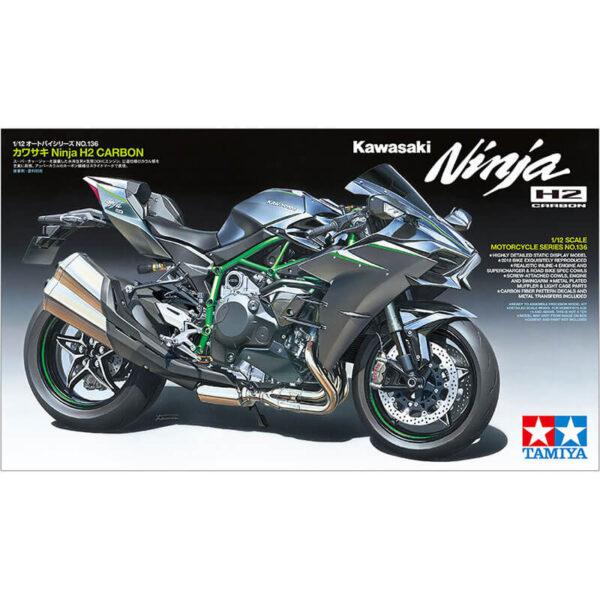 tamiya 14136 Kawasaki Ninja H2 Carbon 1/12 Kit en plástico para montar y pintar. El carenado se puede desmontar para apreciar el chasis y motor detallados.