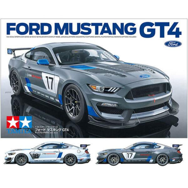 tamiya 24354 Ford Mustang GT4 1/24 Kit en plástico para montar y pintar. Incluye mascarillas para pintar los cristales. Hoja de calcas con 2 opciones de decoración.