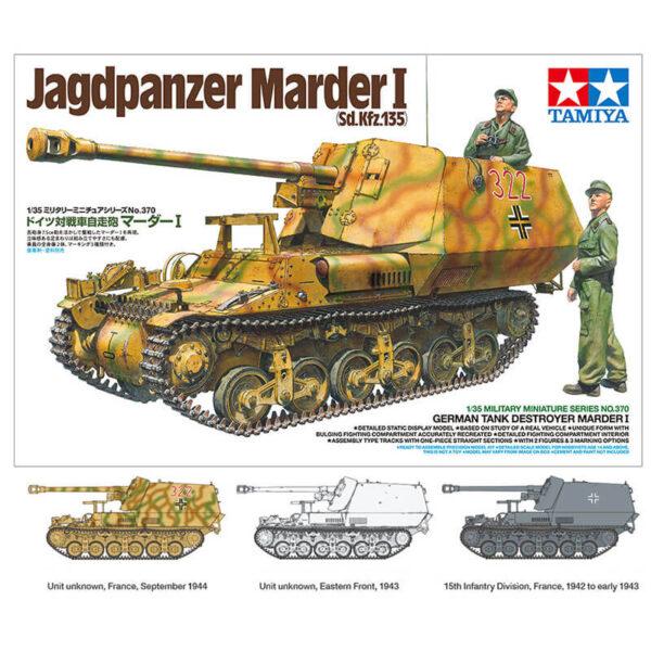 tamiya 35370 Jagdpanzer Marder I Sd.Kfz.135 1/35 Kit en plástico para montar y pintar. Incluye 2 figuras y cadenas por tramo y eslabón.