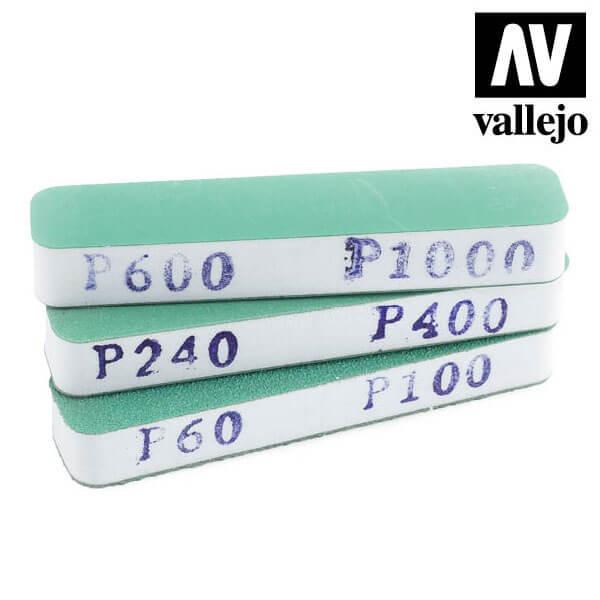 vallejo T04002 Set de 3 Lijas Flexibles Doble Grano 90x19x12 mm Set de tres tacos de lija de doble cara, lavables y reutilizables.