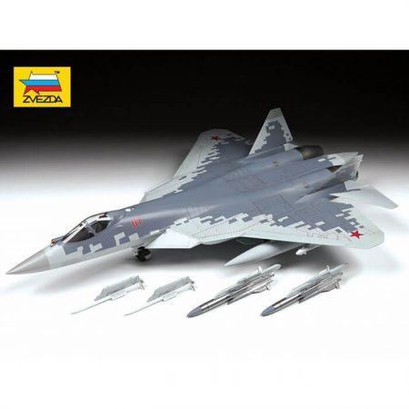 zvezda 4824 Russian fifth-generation fighter SU-57 1/48 Kit en plástico para montar y pintar. Hoja de calcas con 2 decoraciones.