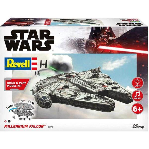 Revell 06778 Star Wars Millennium Falcon 1/164 Kit en plástico de montaje fácil, no necesita pegamento ni pintura. Incluye luces y sonidos.