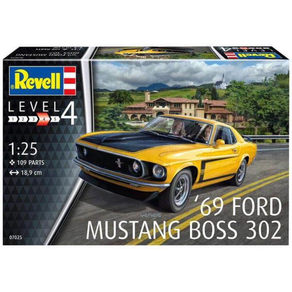 Revell 07025 '69 Ford Mustang Boss 302 1/25 Kit en plástico para montar y pintar. Longitud 189 mm