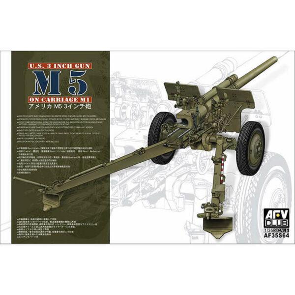 afv club af35s64 U.S. 3 inch gun M5 on carriage M1 1/35 Kit en plástico para montar y pintar. Incluye cañón en metal y piezas en fotograbado