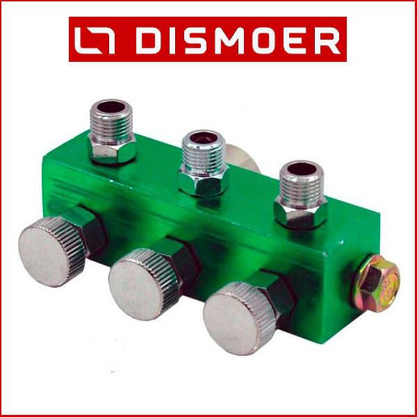 dismoer 26390 Colector para 3 Aerógrafos con Válvulas Colector para tres aerógrafos. Incluye válvulas individuales para regular la presión de cada salida de aire