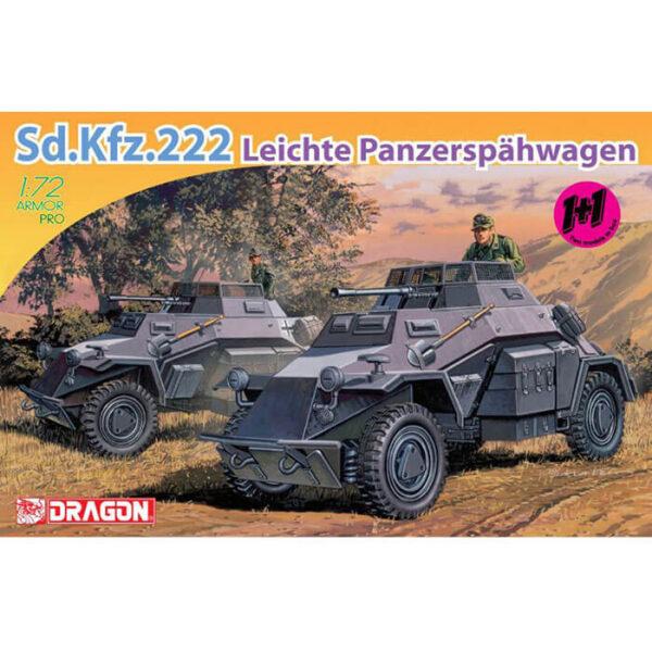 dragon 7393 Sd.Kfz.222 Leichte Panzerspahwagen 1+1 1/72 Kit en plástico para montar y pintar2 maquetas completas. Incluye piezas en fotograbado.