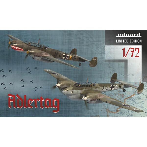 eduard 2132 Adlertag Messerschmit Bf 110C/D 1/72 in the battle of Britain Kit en plástico para montar y pintar. Incluye piezas en fotograbado, mascarillas y el cañón MK 101 30mm en resina para el Bf 110C-6 .