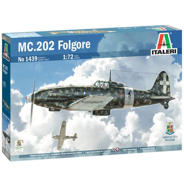 italeri 1439 Macchi MC.202 Folgore 1/72 Kit en plástico para montar y pintar. Hoja de calcas con 4 decoraciones de la Aviazione Cobelligerante Italiana y la Regia Aeronautica.