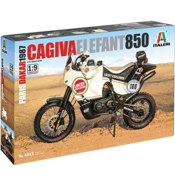 italeri 4643 Cagiva Elefant 850 1/9 Paris-Dakar 1987 Kit en plástico para montar y pintar. Hoja de calcas para las motos nº 99 y nº100 pilotadas por Hubert Auriol y Alessandro de Petri.