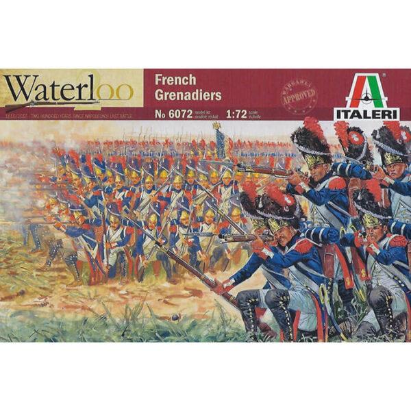 italeri 6072 1/72 French Grenadiers Waterloo 1815 Kit en plástico para montar y pintar. Incluye 50 figuras de Granaderos Franceses en la batalla de Waterloo en varias poses.