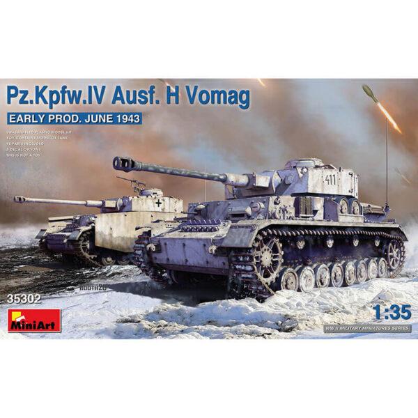 miniart 35302 Pz.Kpfw.IV Ausf. H Vomag. Early Prod. June 1943 1/35 Kit en plástico para montar y pintar. Incluye piezas en fotograbado y cadenas por eslabones individuales.