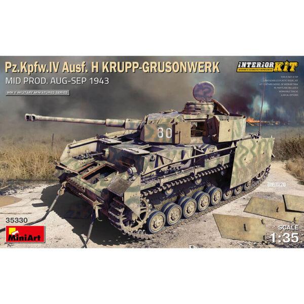 miniart 35330 Pz.Kpfw.IV Ausf. H KRUPP-GRUSONWERK. Mid Prod. Aug-Sep 1943 1/35 INTERIOR KIT Kit en plástico para montar y pintar. Incluye piezas en fotograbado y cadenas por eslabones individuales. Interior completo detallado.