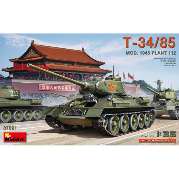 miniart 37091 T-34/85 Mod. 1945. Plant 112 1/35 Kit en plástico para montar y pintar. Incluye piezas en fotograbado y cadenas por eslabones individuales.