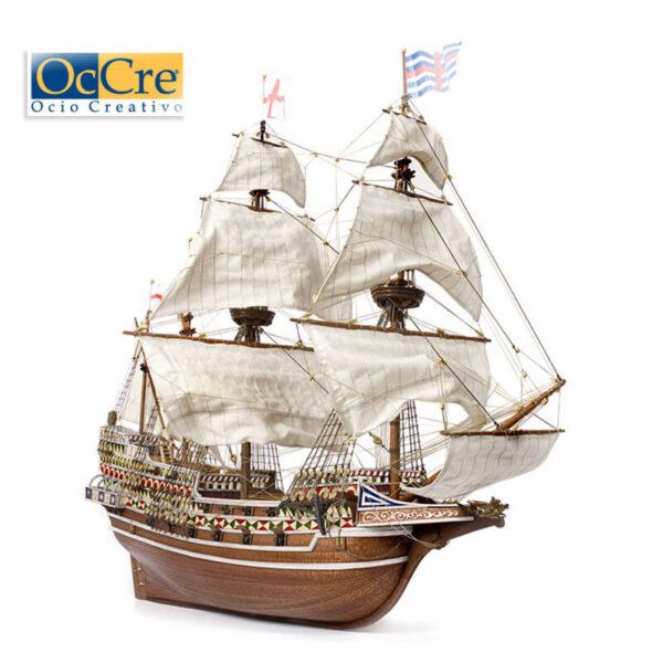 occre 13004 HMS Revenge 1/85 Galeón Inglés S.XVI Kit de construcción tradicional en madera, casco por cuadernas con doble forro.