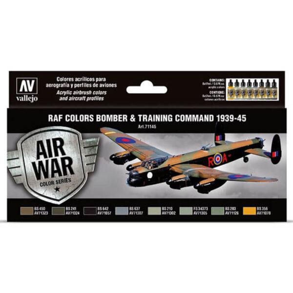 AV71145 RAF colors Bomber & Training Air Command 1939-1945 Set de 8 colores Model Air de 17 ml para aerografía. Especialmente desarrollados para pintar los bombarderos y aviones de entrenamiento de la RAF. Incluye esquemas de color para los aviones.