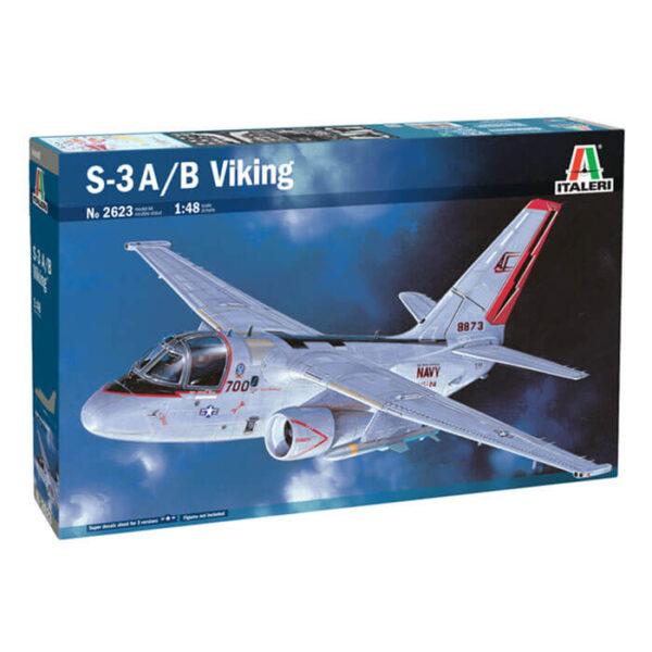 italeri 2623 1/48 Lockheed S-3A/B Viking Kit en plástico para montar y pintar. Hoja de calcas con 3 decoraciones US Navy. Longitud 339 mm