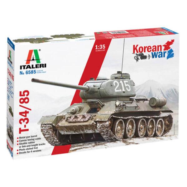 italeri 6585 T-34/85 Korean War 1/35 Kit en plástico para montar y pintar. Incluye piezas en fotograbado y cañón torneado en metal. Dos opciones de cadenas: por tramo y eslabón y en banda de goma.