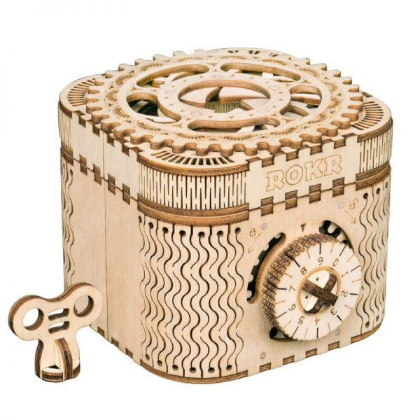 robotime rokr LK502 Treasure box Caja Fuerte Maqueta en madera de 158 piezas con un increíble nivel de detalle. Todos los materiales necesarios para el montaje de la maqueta.