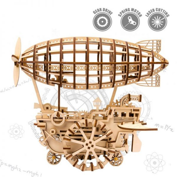 robotime rokr LK702 Air Vehicle Vehículo Aéreo Mechanical Gears ROKR Este increíble puzzle 3D de madera de ROBOTIME, es una maravillosa reproducción de un Zeppelín, en estilo steampunk, de 229 piezas y montaje sin pegamento.