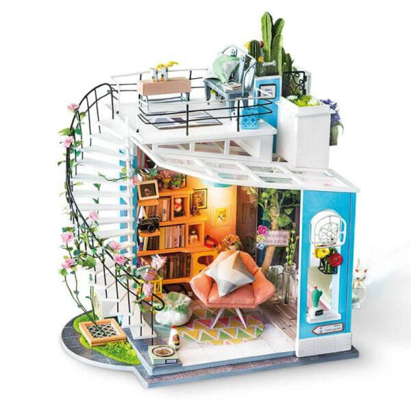 robotime rolife DG12DIY House: Dora's Loft Las maquetas ROBOTIME son casas en miniatura que recrean con increíble detalle lugares de la vida diaria, a escala 1:24 Disfruta de tu tiempo libre mientras montas y decoras tus escenas favoritas.