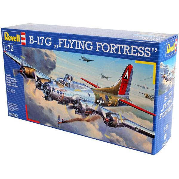 Revell 04283 Boeing B-17G Flying Fortress 1/72 Kit en plástico para montar y pintar. Interior de cabina y bodega de bombas detallados. Hoja de calcas con 2 decoraciones.